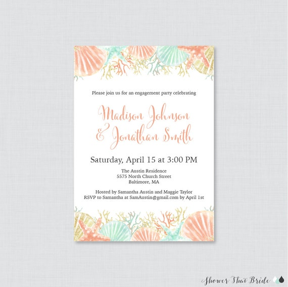 Beach Themed Engagement Party Invitation Printable or Printed
