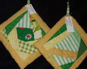 POTHOLDERS #6 Patchwork, Yellow Green Crazy Quilt Traditional Pattern, Spring Easter Cabin Country Loft Shabby, Masculine, Manish, Gift, USA