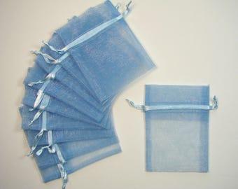 Clear set of 10 blue organza bags, 7cmX10cm