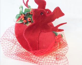 Red velvet bird swallow fascinator burlesque hat wedding bridesmaid ascot races goodwood vintage unique
