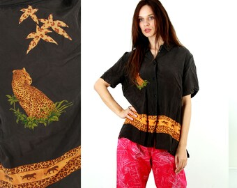 Vintage 80s Tiger Print Blouse / Novelty Blouse / Silk Blouse / Silky Shirts / 80s Shirts / Africa Print Top / Summer Blouse / Size L