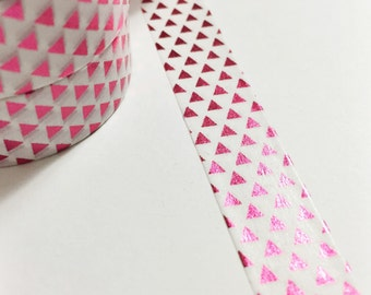 Bright Shiny Metallic Pink Foil Triangles Washi Tape 11 yards 10 meters 15mm
