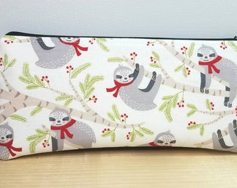 Back to School Pouch - Sloth Pencil case - Zipper pouch - Sloth Winter Scarf - Student/Teacher Gift - Pen pouch - Back to School Case