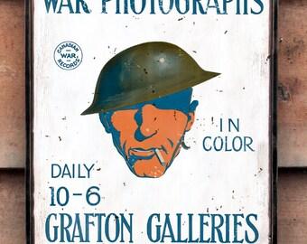 Vintage wooden sign 'Canadian War Photographs'.
