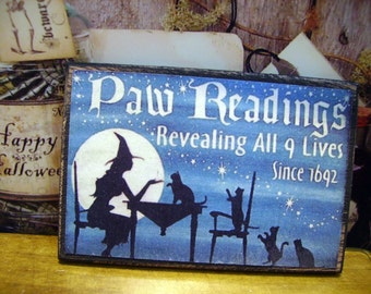 Halloween Paw Reading Miniature Wooden Plaque 1:12 scale for Dollhouses.