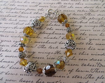 Chunky Amber Crystal And Ornate Silver Heart Beaded Bracelet