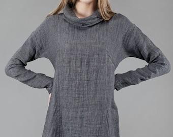 Linen women tunic, Pure linen dress, Dark Grey Tunic, Linen Dress, Linen clothing, linen clothes, Organic Linen Dress