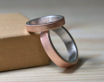 Wedding Bands His and Hers Copper. Wedding Bands Set Copper. Silver Wedding Rings Set His and Her Copper. Wedding Rings Set Copper