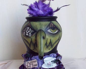 Halloween Witch Tea Pot Miss Violet Grimm Doll Handmade OOAK Folkart Decor Halloween Sale
