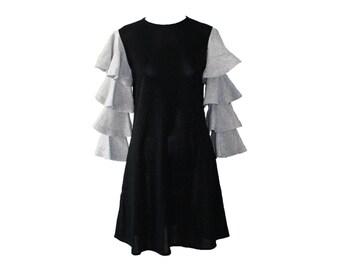 Vintage Rudi Gernreich Black and Silver Ruffle Sleeve Knit Dress 1967