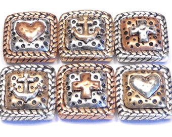 Six 2 Hole Slider Beads Antiqued Silver Copper Brass Rustic Cross Anchor & Heart, Faith Hope Love Religious Symbol With Rope Frame, Boho