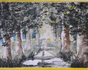 Watercolor, the light path in the Woods, canvas - and - fil.aliittlemarket.com