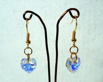 AB Crystal Heart Earrings - Swarovski Elements