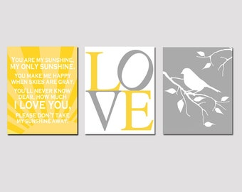 Modern Nursery Trio - Set of Three 8x10 Prints - You Are My Sunshine, LOVE Typography, Bird on a Branch - Yellow, Gray, White, and More