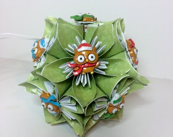 Small Kusudama Flower Ball Ornament (Owls V1)