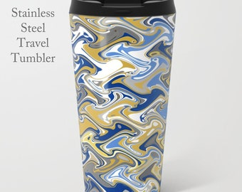 Quirky Travel Tumbler-Stainless Steel Mug-Insulated Coffee Mug-Metal Mug-15 oz Mug-Funky Coffee Mug-Insulated Travel Mug-Blue/White/Yellow