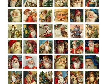 Instant Download - Christmas - Victorian Santas Collage Sheet - Vintage Santa Claus - 1 x 1 Inch - Digital Download - Printable