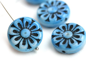 18mm Blue and Black Flower beads, 2pc Czech glass Round tablet floral ornament beads, Blue mixed color - 2pc - 0313