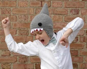 Crochet Shark Hat, Ear Flap Hat, Beanie