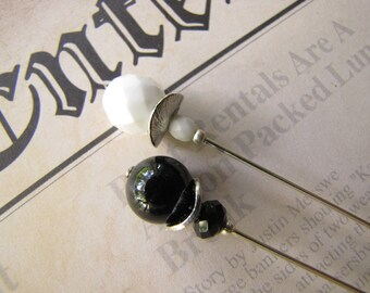 2 Black and White Hatpins,Silver Plated Hijab Pins, Stick Pins
