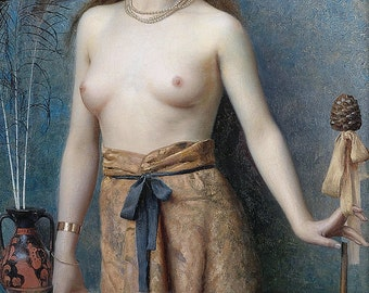 Max Nonnenbruch: Young Bacchante with Thyrsus - Pagan & Goddess fine art giclee reproduction