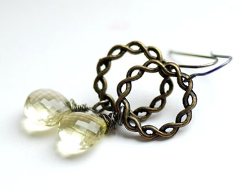 Lemon Quartz Earrings, Pale Yellow Earrings, Statement Earrings, Semi Precious Stone Jewelry, Pastel Gemstone Earrings, Mixed Metal Earrings