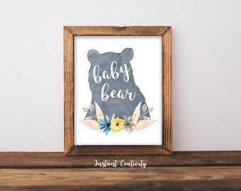 Bear Woodland Decoration, Name Art, WaterColor Floral Printable, Wall Art, Nursery Buck Rustic Decor, Animal Print, Woodland Nursery Baby