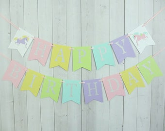 Unicorn Birthday Party Baby Shower Flag Pennant Banner Sign Pastel Pink Yellow Aqua Turquoise Blue Green Purple Lilac Silver Glitter