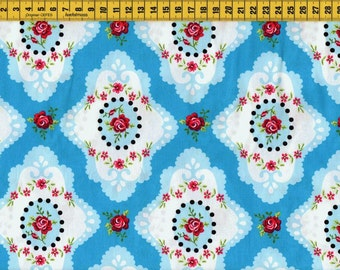 Cotton Fabric • Rose ornament  • turquoise 0.54yd (0,5m) 001667