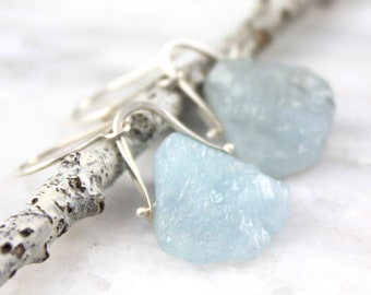 Raw Aquamarine Teardrop Pinned Silver Earrings