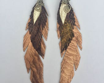 Leather Feather Earrings - Large - Textured Bronze, Brown, Gold