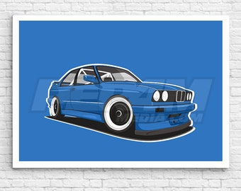BMW E30 M3 canvas / wall art / car canvas / oldschool car / framed home decor / wall decor / digital print / office decor / drift car /
