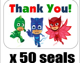 """50 PJ Masks Thank You Envelope Seals / Labels / Stickers, 1"""" by 1.5"""""""