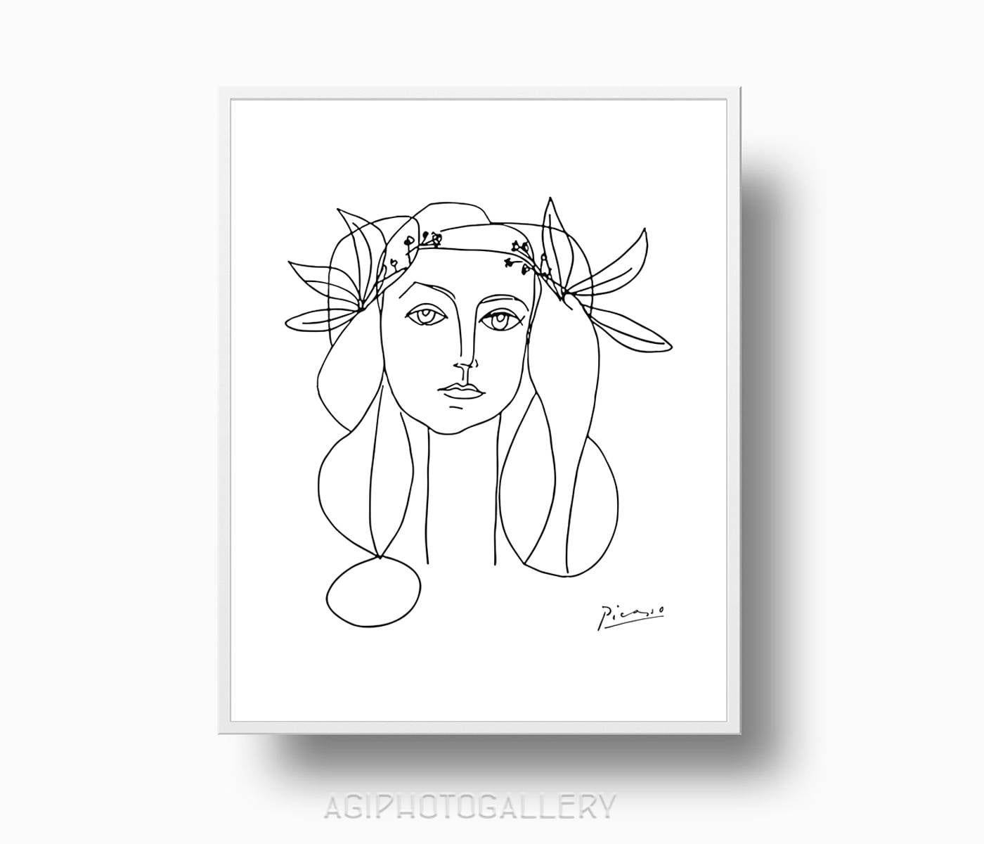 Picasso Line Drawing Face : Picasso print girl peace poster drawing