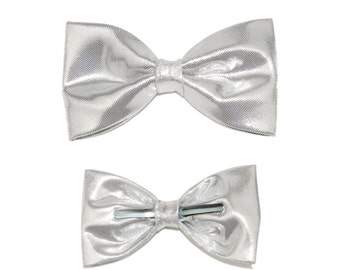 Shiny Silver Novelty Clip-On Bow Tie - Prom Graduation Formal Events