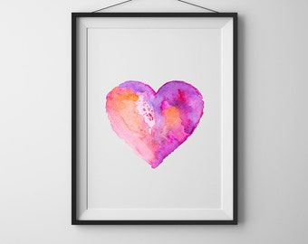 Watercolor heart print valentines day sign Gift for her Instant download Printable art Nursery art