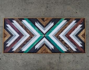 Wood Headboard, Wood Wall Art, Reclaimed Wood Headboard, Original Wall Art, Geometric Wall Art, Wood Art