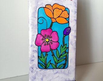 """Floral """"Bloom"""" Mixed Media Art Tile"""