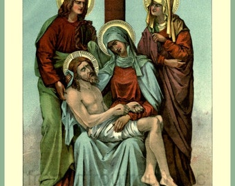 stations of the cross station 13 antique victorian catholic religion illustration DIGITAL DOWNLOAD