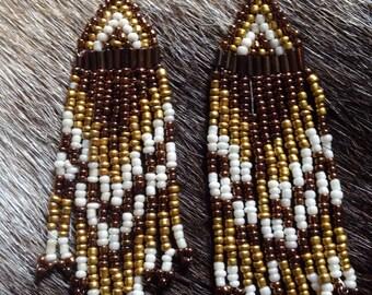 Golden brown beaded earrings