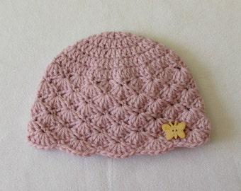 Crochet Shell Stitch Baby Hat Written Pattern