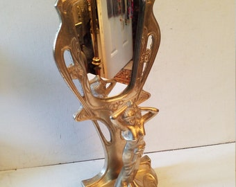Art Nouveau Brass figure mirror