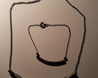Vintage Silvertone Choker and Bracelet Set