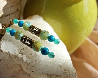 Shell, Jasper, and Agate Hanging Lantern Earrings in Aquamarine