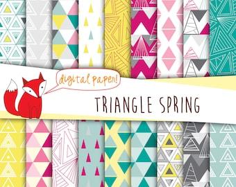 "Triangle Digital Paper ~ Geometric Triangle Prints ~ ""Triangle Spring"" ~ Digital Scrapbooking ~ Digital Backgrounds ~"