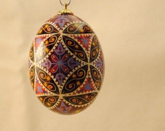 Ukrainian Egg: Purple Flowers in a Latice
