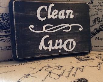 Clean/Dirty Dishwasher Sign (Black) 5x7