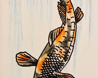 "Koi Fish Art Print,11""x17"", Koi Fish Watercolor Print, Watercolor Print, Silk Screen Print, Watercolor Painting, Koi Fish, Wall Art, Art"