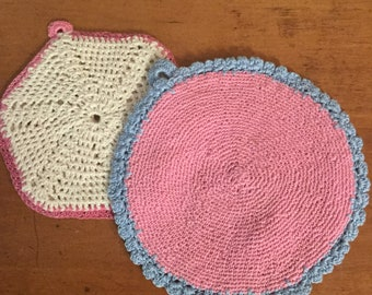 Vintage Estate Crocheted Pot Holders with Hanging Loop