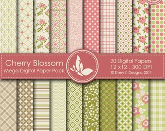 Cherry Blossom Mega Paper Pack - 20 Digital papers - 12 x12 - 300 DPI